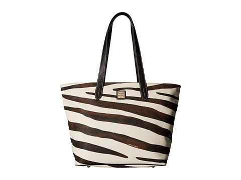 Dooney & Bourke Serengeti Large Zip Shopper - Zebra/Black Trim