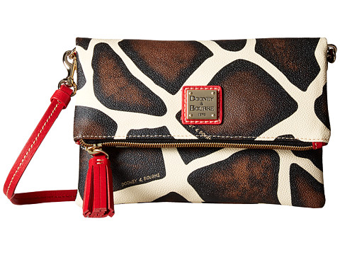 Dooney & Bourke Serengeti Fold-Over Zip Crossbody - Zebra/Red Trim