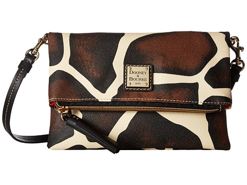 Dooney & Bourke Serengeti Fold-Over Zip Crossbody - Giraffe/Black Trim
