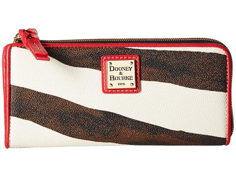Dooney & Bourke Serengeti Zip Clutch - Zebra/Red Trim