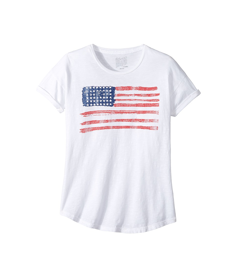 The Original Retro Brand Kids - American Flag Slub Crew Neck with Rolled Sleeve Tee