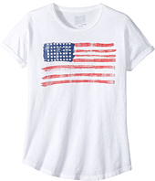 The Original Retro Brand Kids - American Flag Slub Crew Neck with Rolled Sleeve Tee (Big Kids)