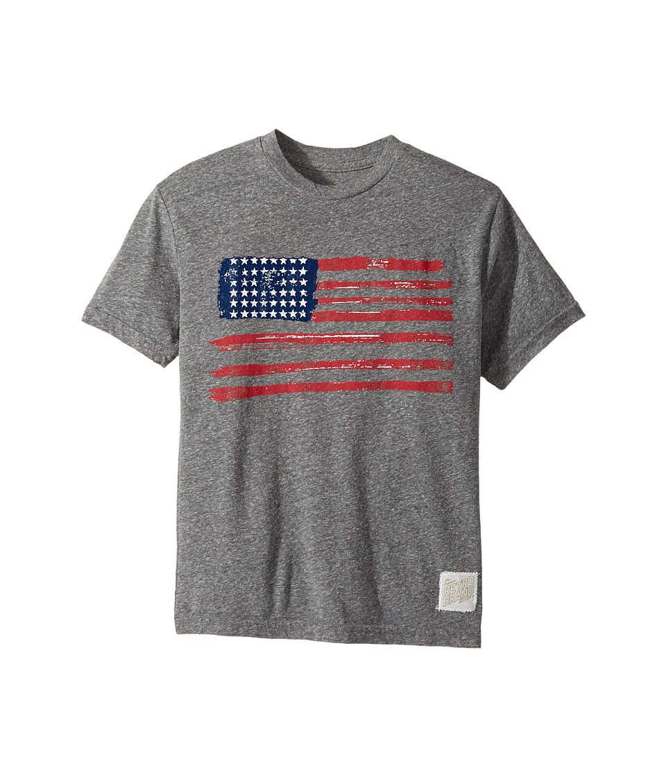 The Original Retro Brand Kids - American Flag Short Sleeve Tri-Blend Crew Tee