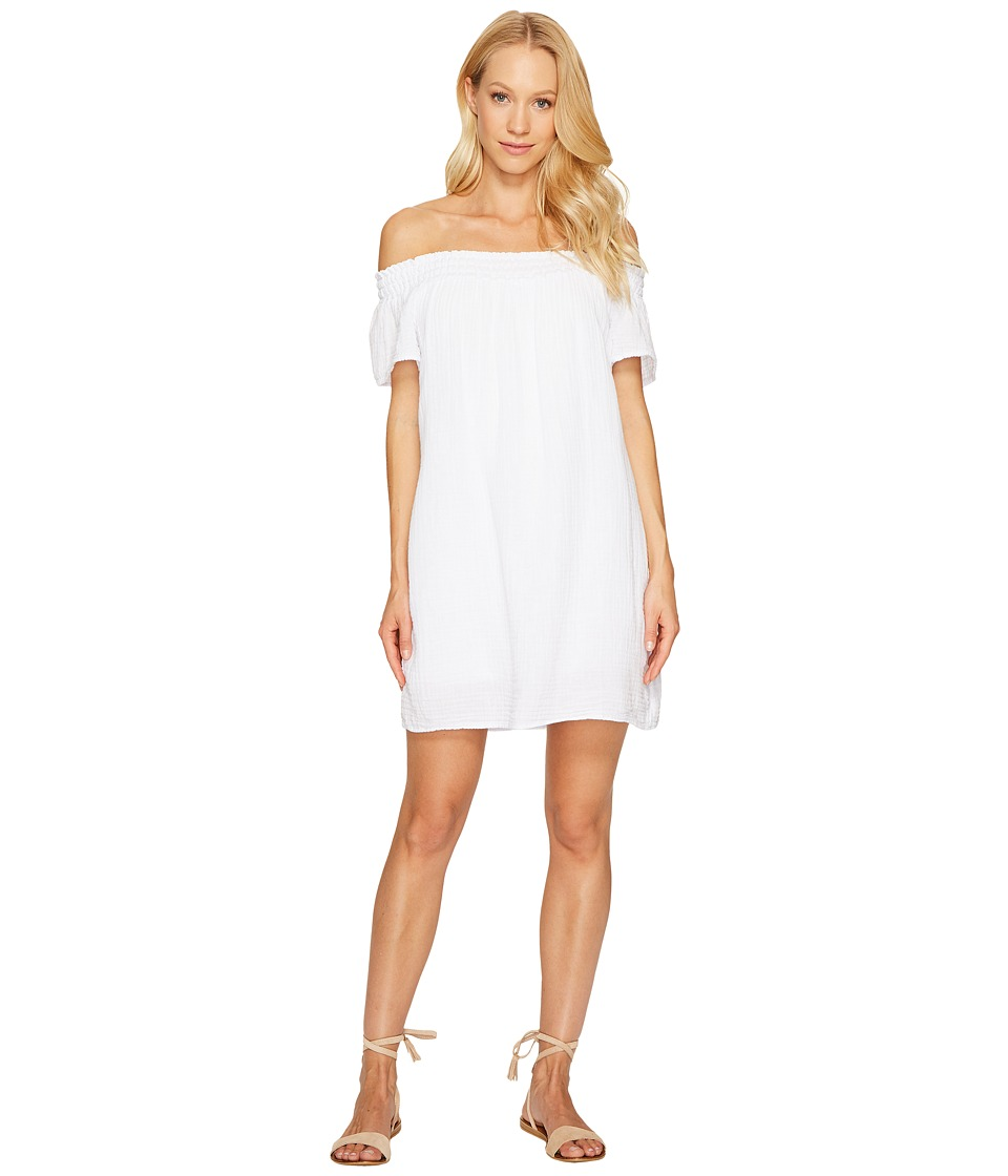 Michael Stars Double Gauze Smocked Off Shoulder Dress (White) Women