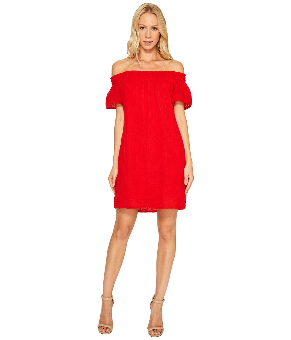Michael Stars Double Gauze Smocked Off Shoulder Dress (Salsa) Women