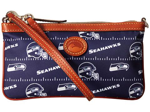 Dooney & Bourke NFL Nylon Large Slim Wristlet - Navy/Tan/Seahawks