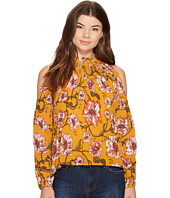 XOXO - Printed Pleated Cold Shoulder Blouse