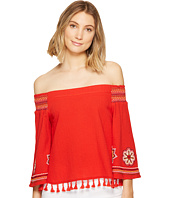 XOXO - Smocked Off the Shoulder Embroidered Top