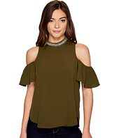 XOXO - Trimmed Mock Neck Cold Shoulder Top