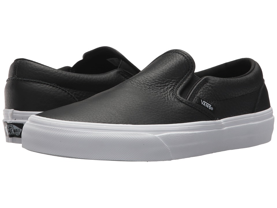 Vans Classic Slip-On DX ((Tumble Leather) Black/True White) Skate Shoes