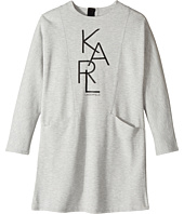 Karl Lagerfeld Kids - Long Sleeve Milano Dress with Logo Graphics (Little Kids)