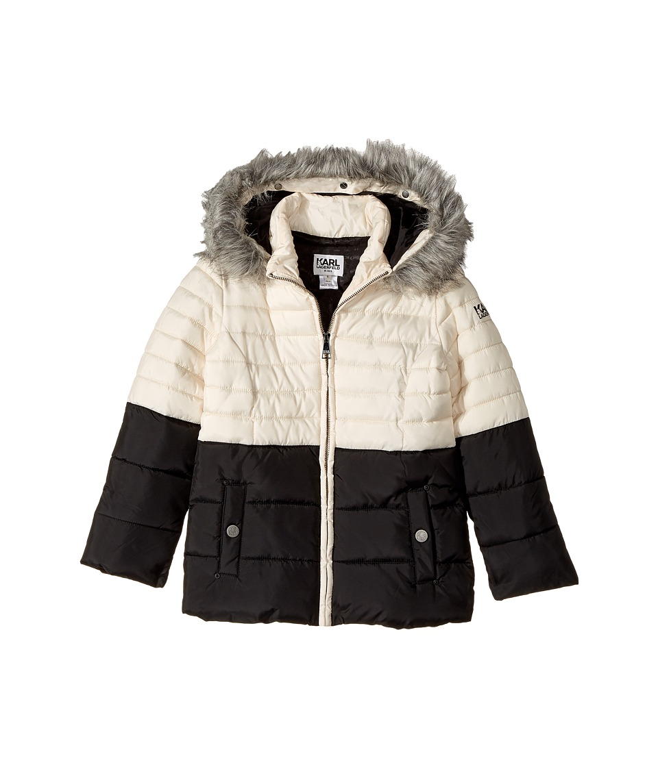 Karl Lagerfeld Kids - Two-Tone Puffer Jacket with Hood