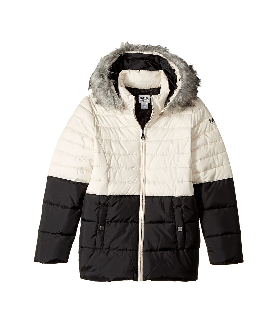 Karl Lagerfeld Kids - Two-Tone Puffer Jacket with Hood (B...