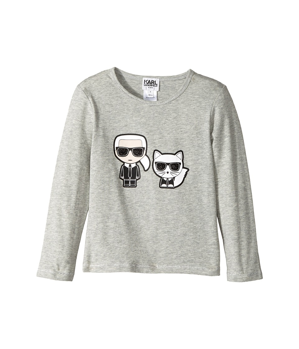 Karl Lagerfeld Kids - Long Sleeve Tee with Karl/Choupette Graphic (Toddler) (Grey) Girls T Shirt