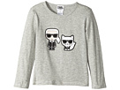 Karl Lagerfeld Kids Long Sleeve Tee with Karl/Choupette Graphic (Toddler)