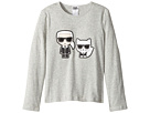 Karl Lagerfeld Kids Long Sleeve Tee with Karl/Choupette Graphic (Little Kids)