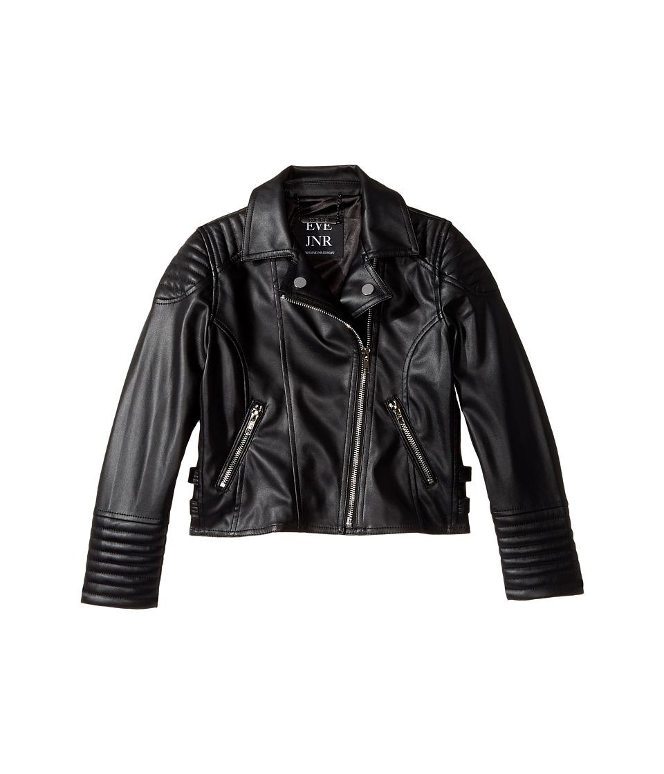 eve jnr - Vegan Leather Moto Jacket (Little Kids/Big Kids) (Black) Kids Coat