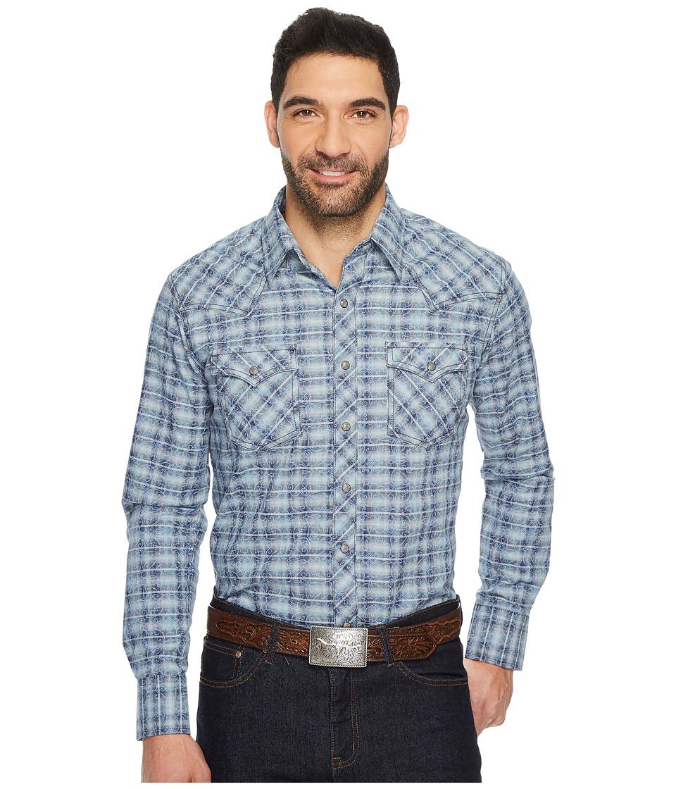 Wrangler - Long Sleeve Retro Snap Plaid (Blue/Grey) Men's Clothing