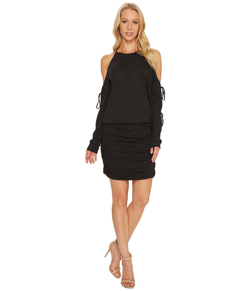 Lanston - Tie Long Sleeve Mini Dress (Black) Womens Dress