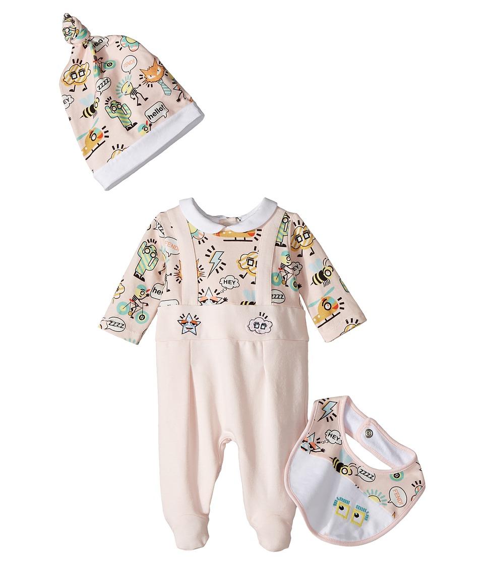 Fendi Kids - Logo Graphic Footie, Hat Bib Gift Set (Infan...