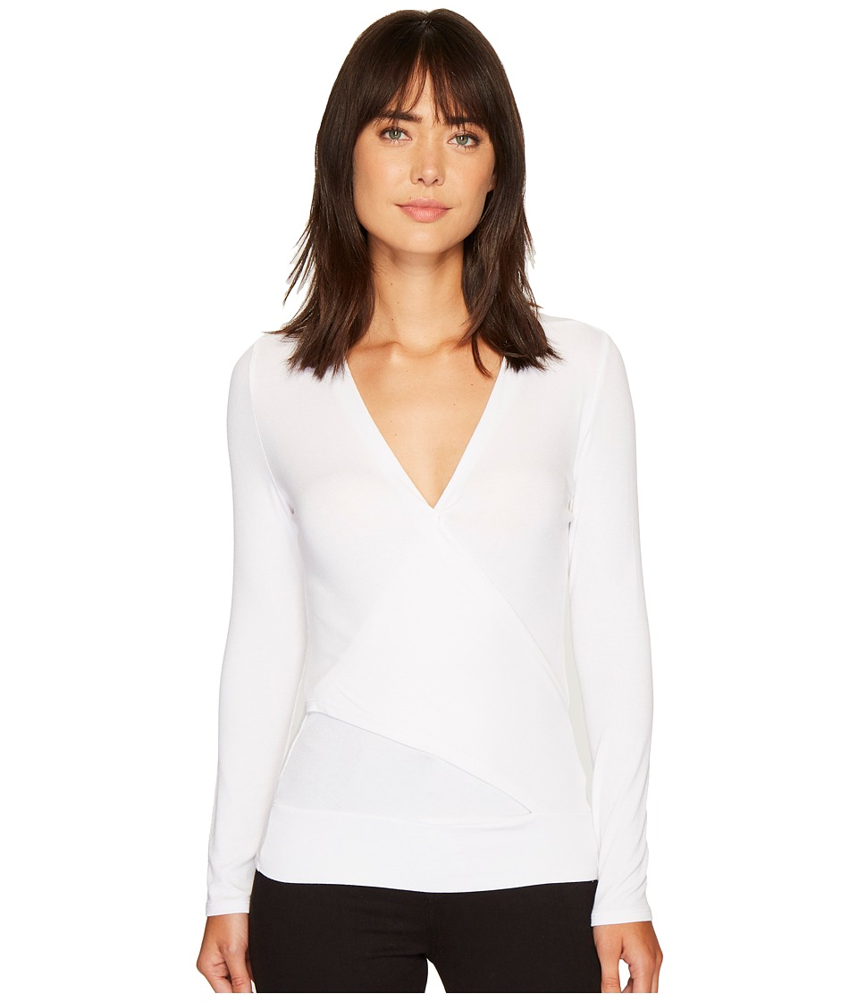 Lanston - Crossover Long Sleeve Top (White) Womens Clothing