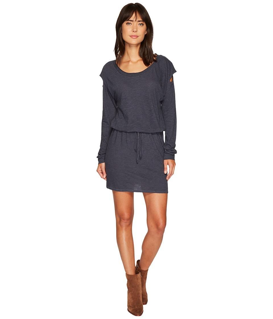 Lanston - Drop Shoulder Cut Out Mini Dress (Steel) Womens Dress