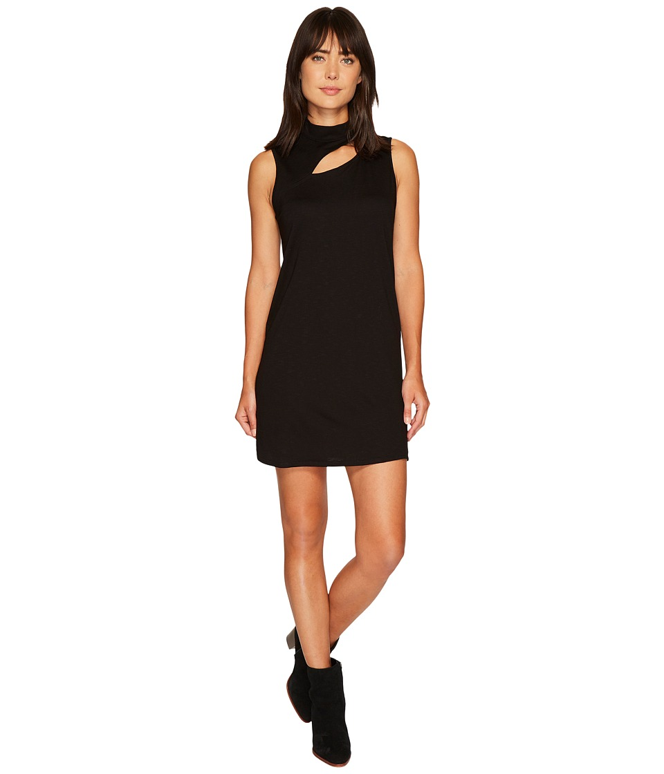 Lanston - Cut Out Turtleneck Mini Dress (Black) Womens Dress