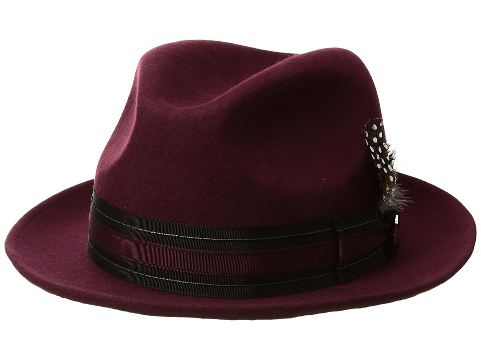 Stacy Adams Pinch Front Wool Fedora (Bordeaux) Fedora Hats