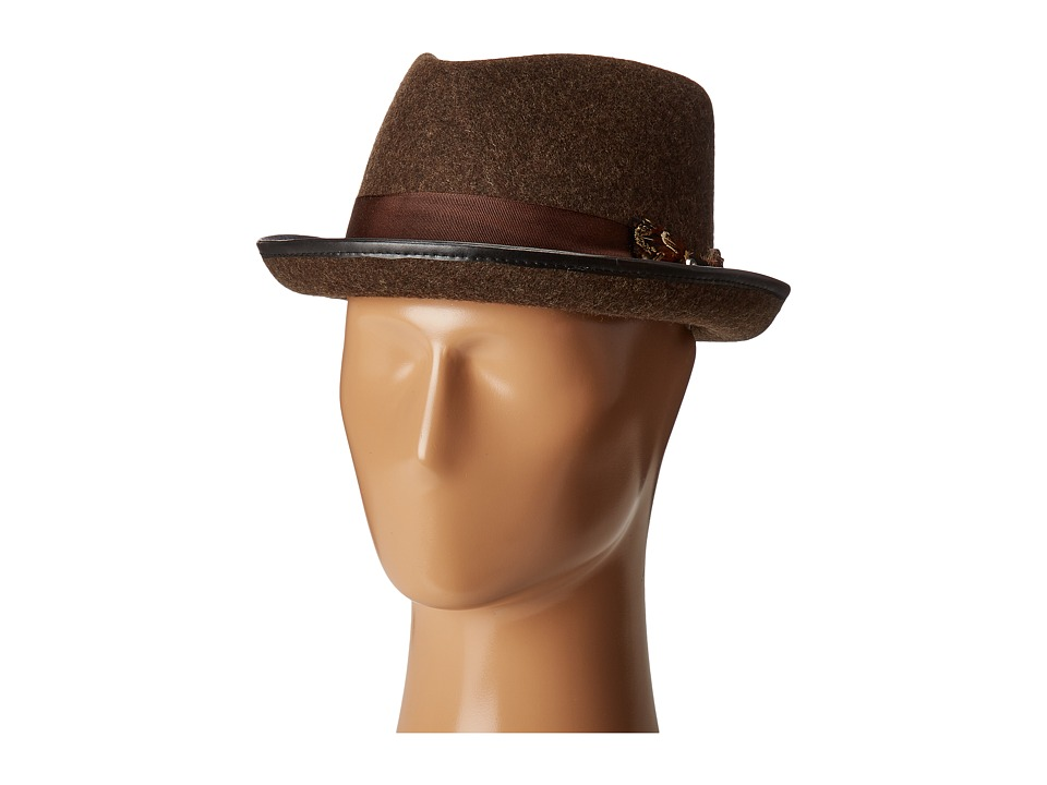 CARLOS by Carlos Santana Wool Fedora with Feather Bow (Brown) Fedora Hats