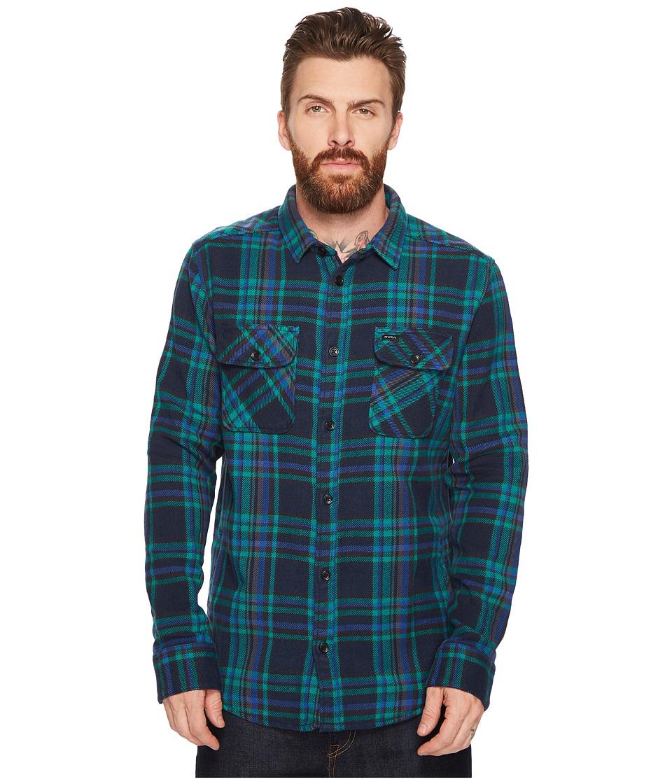 RVCA Camino Flannel Long Sleeve Shirt (Federal Blue) Men'...