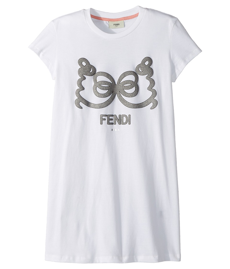 Fendi Kids - Short Sleeve T-Shirt w/ Logo Design on Front (Big Kids) (White) Girls T Shirt