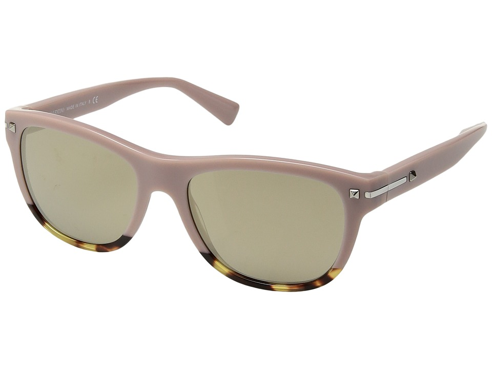 Valentino - 0VA4019 (Pink Havana Yellow/Mirror Light Gold) Fashion Sunglasses