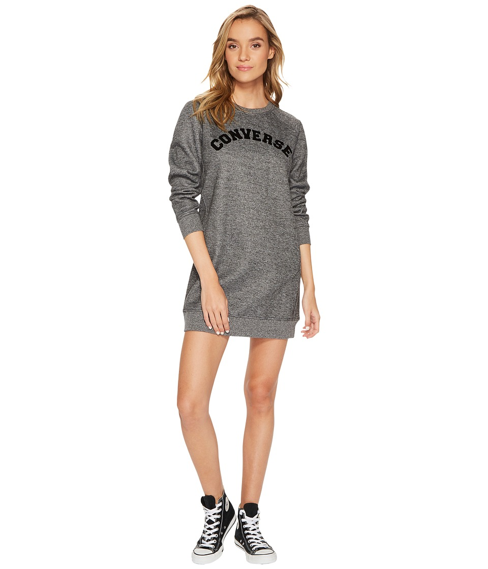 Converse Long Sleeve Sweatshirt Dress (Black Marl) Women