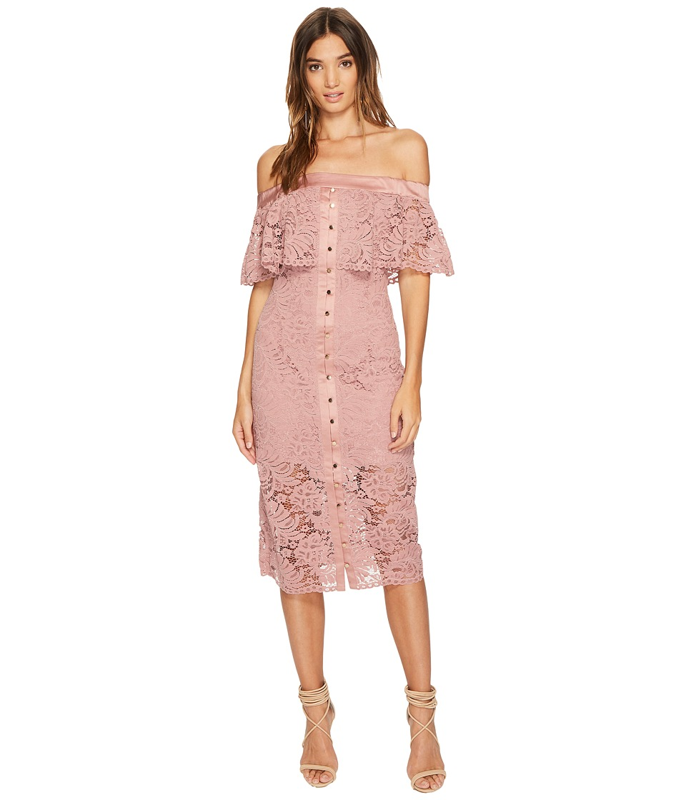 KEEPSAKE THE LABEL Star Crossed Lace Midi Dress (Mauve) Women