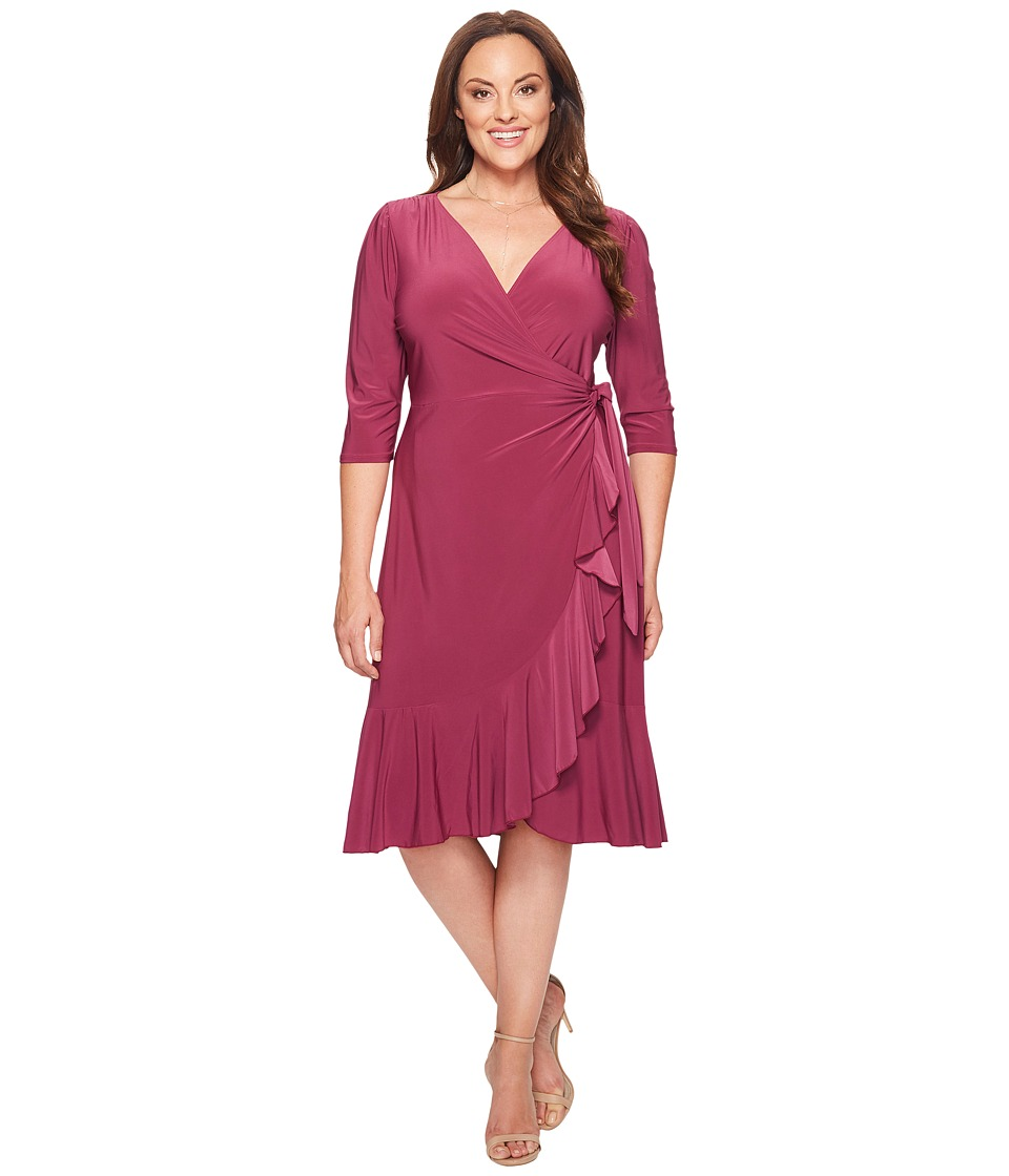Kiyonna Whimsy Wrap Dress (Magenta) Women