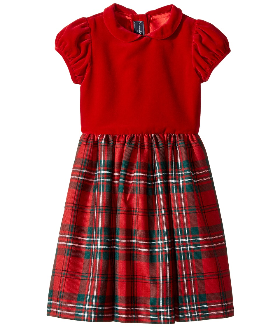 Oscar de la Renta Childrenswear - Holiday Plaid Wool Gathered Sleeve Dress
