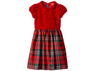 Oscar de la Renta Childrenswear Holiday Plaid Wool Gathered Sleeve Dress (Toddler/Little Kids/Big Kids)