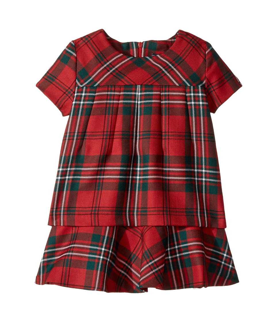 Oscar de la Renta Childrenswear - Holiday Plaid Wool Multi Layer Dress