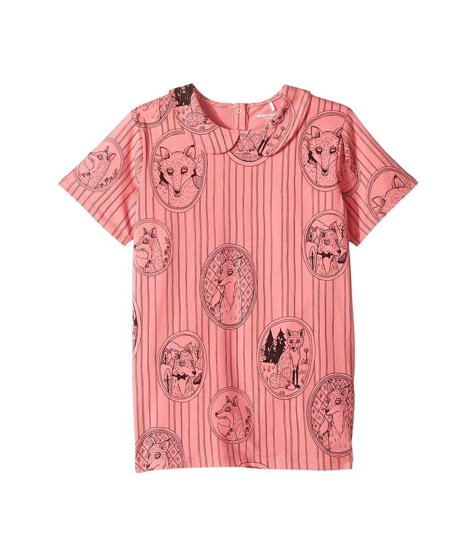 mini rodini - Fox Family Collar Tee (Infant/Toddler/Little Kids/Big Kids) (Pink) Girls T Shirt
