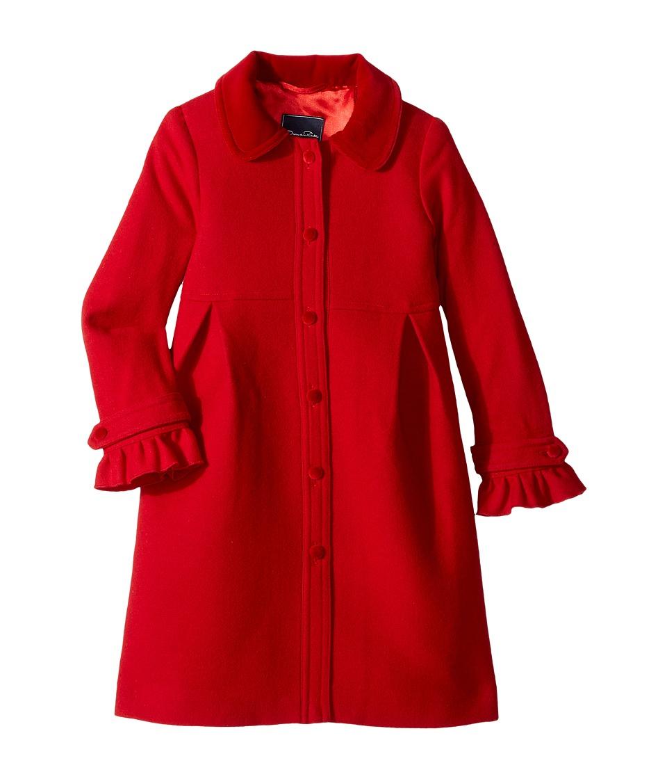 Oscar de la Renta Childrenswear - Wool Button Front Coat w/ Ruffle Detail