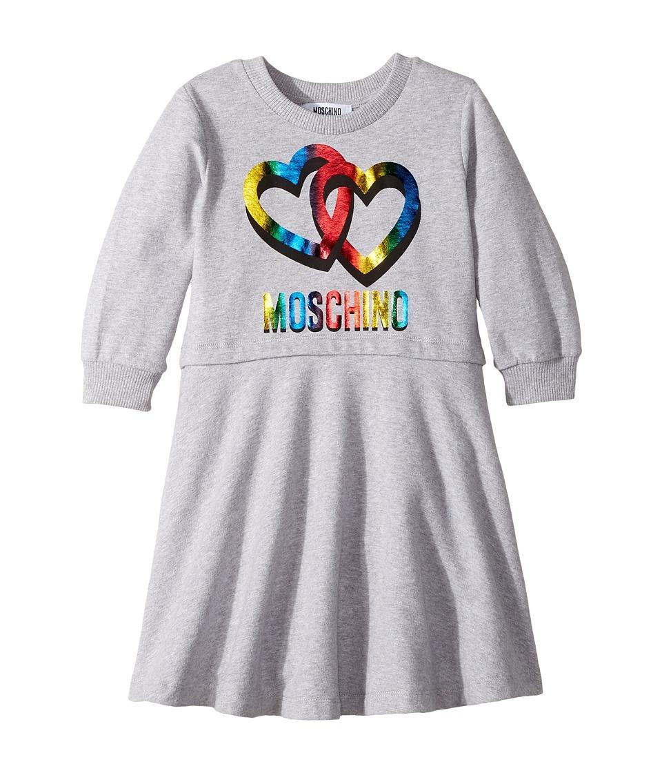 Moschino Kids - Long Sleeve Multicolored Heart Logo Dress