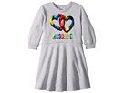 Moschino Kids - Long Sleeve Multicolored Heart Logo Dress (Little Kids/Big Kids)
