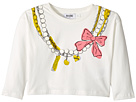 Moschino Kids Long Sleeve Pearl Necklace Graphic Cropped T-Shirt (Little Kids/Big Kids)