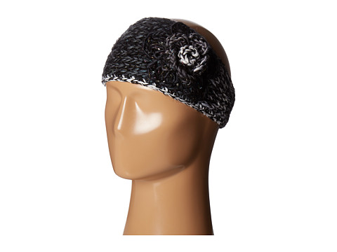 SCALA Knit Headband w/ Flower - Black