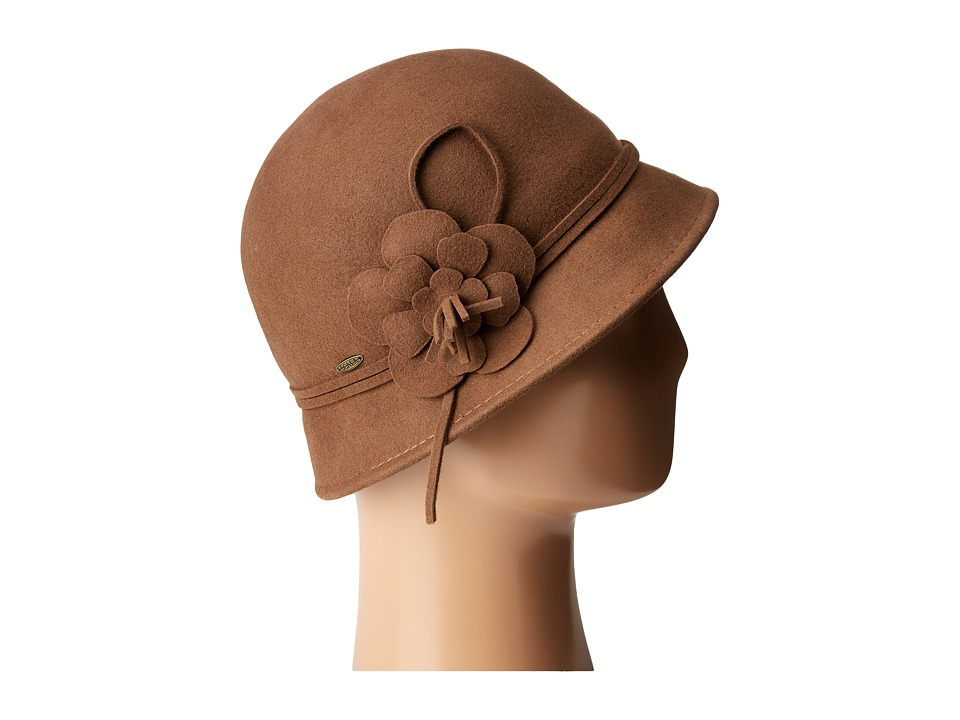 1920s Style Hats SCALA - Wool Felt Cloche w Flowers Pecan Caps $39.99 AT vintagedancer.com