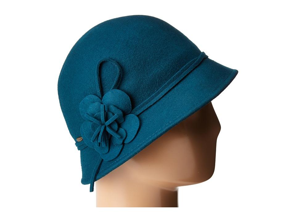 1920s Style Hats SCALA - Wool Felt Cloche w Flowers Teal Caps $43.00 AT vintagedancer.com
