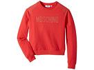 Moschino Kids Long Sleeve Sweat Top w/ Logo and Shoulder Studs (Big Kids)