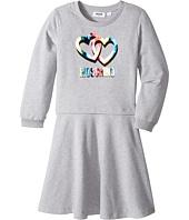 - Long Sleeve Multicolored Heart Logo Dress  Gray