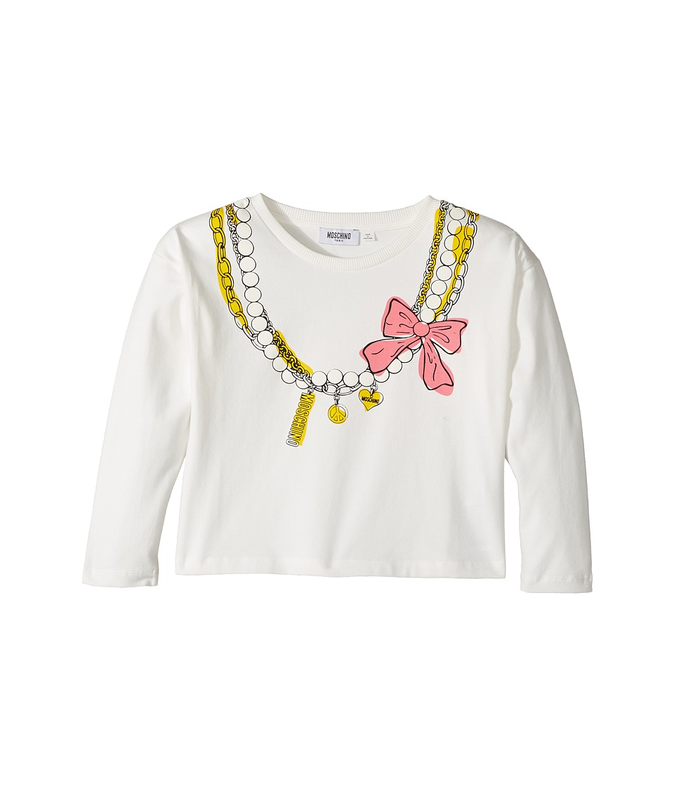 Moschino Kids - Long Sleeve Pearl Necklace Graphic Cropped T-Shirt