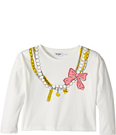 Moschino Kids - Long Sleeve Pearl Necklace Graphic Cropped T-Shirt (Big Kids)
